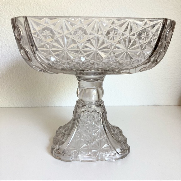 Large Vintage Daisy & Button Glass Footed Bowl